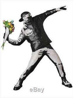MEDICOM TOY SYNC. BANKSY Brandalism FLOWER BOMBER CONCRETE Ver. Statue KAWS 2018