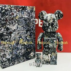 Medicom 2018 Be@rbrick Jackson Pollock 400% + 100% Black ver 2.0 Bearbrick Set