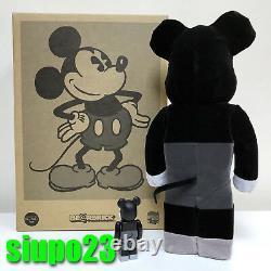 Medicom 400% + 100% Bearbrick Mickey Mouse Be@rbrick Vintage Black & White Ver